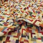 Tapestry Fabric - Curtains Upholstery Cotton Mix - Tetris